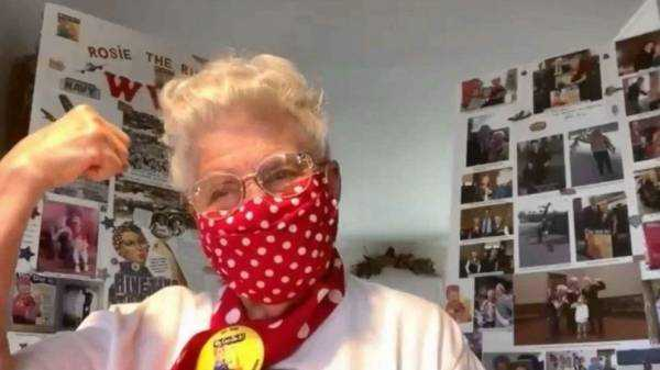 'Rosie the Riveter' back on the job making masks to prevent spread of COVID-19