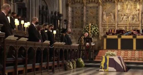 Prince Philip's coffin lowered into Royal Vault in never-before-seen TV moment