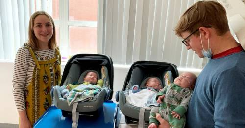 Couple welcome '200 million to one' identical triplets who arrived 10 weeks early