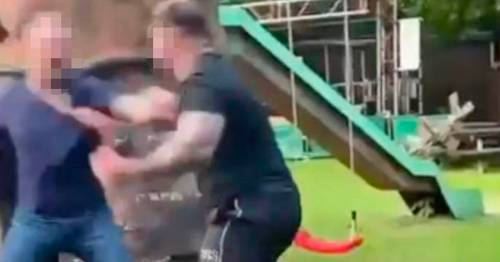 Horrific moment brawling man spits out man's ear during beer garden punch-up