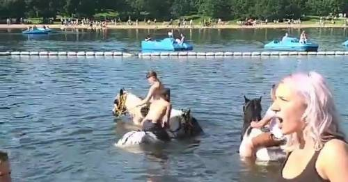 Fuming mum confronts shirtless men riding ponies as they dive into lido