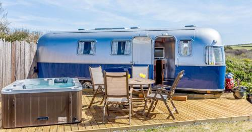 Inside the 1974 airstream with a private hot tub you can hire right by Woolacombe