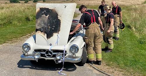 Bride late to own wedding after vintage car catches fire in sweltering heatwave