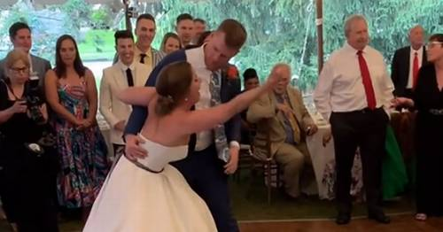 Couple's dream wedding halted as bride dislocates her knee during first dance