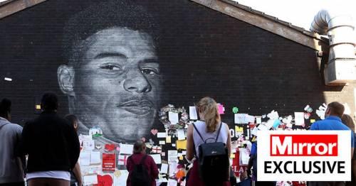 Police hunting sick yob who defiled Marcus Rashford mural study CCTV of running youth