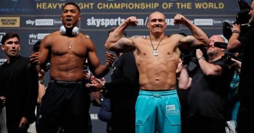 Anthony Joshua weighs in 19lb heavier than OIeksandr Usyk for heavyweight clash